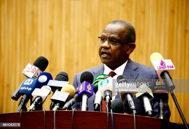 Mohamed Atta the head of Sudan's National Intelligence and Security Service speaks during a conference on security challenges across Africa on April...