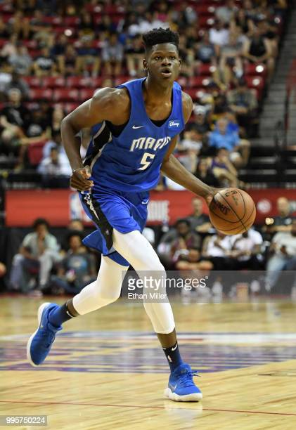 Mohamed Bamba of the Orlando Magic brings the ball up the court against the Phoenix Suns during the 2018 NBA Summer League at the Thomas Mack Center...