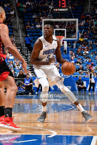 Mohamed Bamba of the Orlando Magic drives to the basket against Flamengo during a preseason game at the Amway Center in Orlando Florida on October 5...