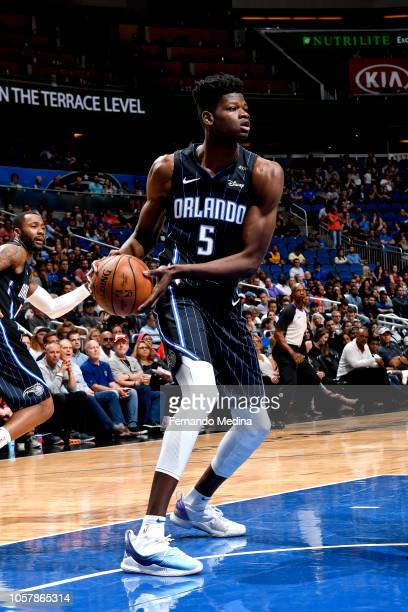 Mohamed Bamba of the Orlando Magic handles the ball against the Cleveland Cavaliers on November 5 2018 at Amway Center in Orlando Florida NOTE TO...