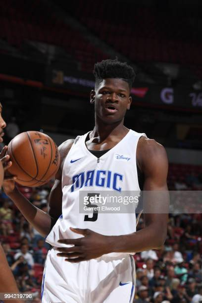 Mohamed Bamba of the Orlando Magic handles the ball against the Memphis Grizzlies during the 2018 Las Vegas Summer League on July 8 2018 at the...