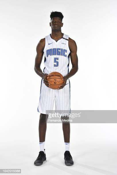 Mohamed Bamba of the Orlando Magic poses for a portrait during NBA Media Day on September 24 2018 at Amway Center in Orlando Florida NOTE TO USER...
