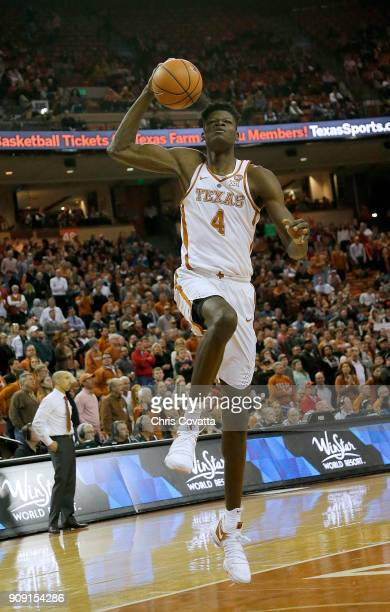 Mohamed Bamba of the Texas Longhorns leaps to the basket against the Texas Tech Red Raiders at the Frank Erwin Center on January 17 2018 in Austin...