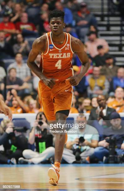 Mohamed Bamba of the Texas Longhorns looks on against the Nevada Wolf Pack during the game in the first round of the 2018 NCAA Men's Basketball...