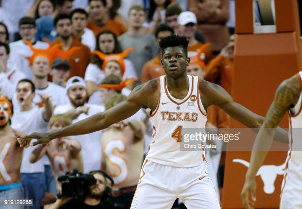 Mohamed Bamba of the Texas Longhorns plays defense against the Baylor Bears at the Frank Erwin Center on February 12 2018 in Austin Texas