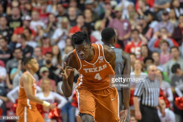 Mohamed Bamba of the Texas Longhorns reacts after making a three point basket during the game against the Texas Tech Red Raiders on January 31 2018...