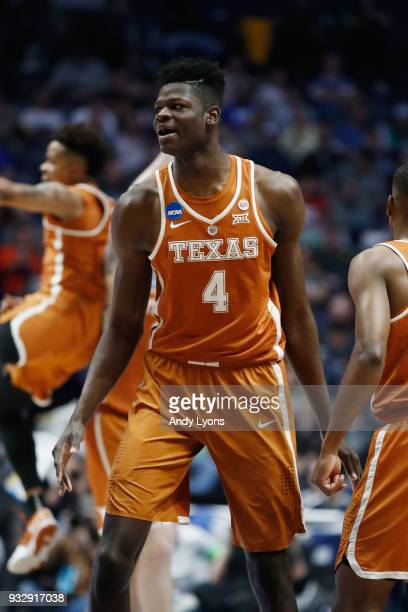 Mohamed Bamba of the Texas Longhorns reacts against the Nevada Wolf Pack during the game in the first round of the 2018 NCAA Men's Basketball...