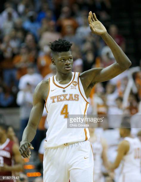 Mohamed Bamba of the Texas Longhorns reacts as his team plays the Oklahoma Sooners at the Frank Erwin Center on February 3 2018 in Austin Texas