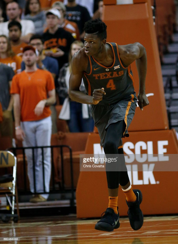 Mohamed Bamba #4 of the Texas Longhorns runs up court against the Florida A&M Rattlers at the Frank Erwin Center on November 18, 2017 in Austin, Texas.