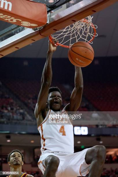 Mohamed Bamba of the Texas Longhorns slam dunks against the Iowa State Cyclones at the Frank Erwin Center on January 22 2018 in Austin Texas