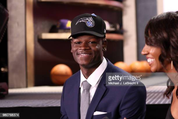 Mohamed Bamba talks to the media after being selected number six overall by the Orlando Magic on June 21 2018 at Barclays Center during the 2018 NBA...