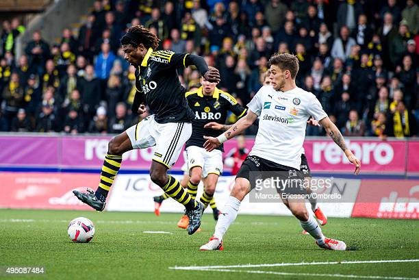 Mohamed Bangura of AIK and Eidur Sigurbjornsson of Orebro during the Allsvenskan match between Orebro SK and AIK at Behrn Arena on October 31 2015 in...