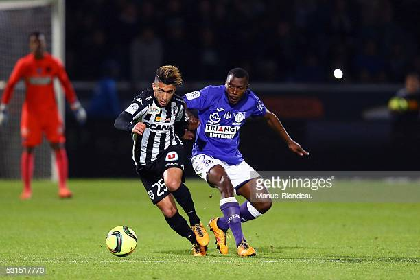 Mohamed Benrahma of Angers and Steeve Yago of Toulouse during the football french Ligue 1 match between Angers SCO and Toulouse FC on May 14 2016 in...