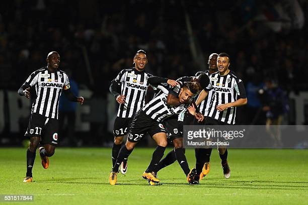 Mohamed Benrahma of Angers celebrates with his teammates after scoring a goal after the football french Ligue 1 match between Angers SCO and Toulouse...