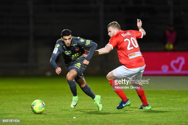 Mohamed Benrahma of Gazelec and Renaud Ripart of Nimes during the French Ligue 2 match between Nimes and Gazelec Ajaccio on February 24 2017 in France