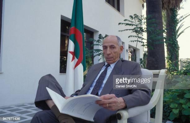 Mohamed Boudiaf, president du Haut Comite d'Etat, en charge provisoire des pouvoirs de chef de l'Etat algerien le 11 mai 1992 a Alger, Algerie.