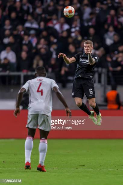 Mohamed Camara and Kristijan Jakic of Eintracht Frankfurt battle for the ball during the UEFA Europa League group D match between Eintracht Frankfurt...