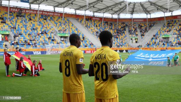 Mohamed Camara and Sekou Koita of Mali take a moment of prayer prior to the 2019 FIFA U-20 World Cup group E match between Mali and France at Gdynia...