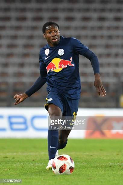 Mohamed Camara of Liefering controls the ball during the 2 Liga match between FC Blau Weiss Linz v FC Liefering at TGW Arena on September 28 2018 in...