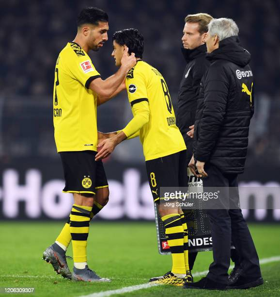 Mohamed Dahoud of Dortmund replaces Emre Can during the Bundesliga match between Borussia Dortmund and Eintracht Frankfurt at Signal Iduna Park on...