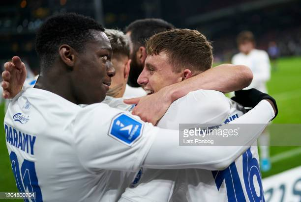 Mohamed Daramy and Pep Biel of FC Copenhagen celebrate after scoring their second goal during the Danish 3F Superliga match between FC Copenhagen and...