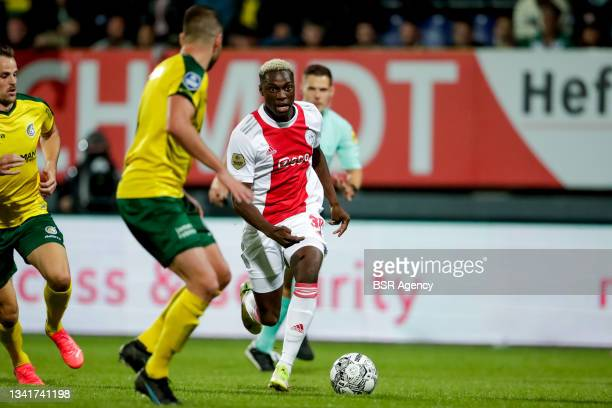 Mohamed Daramy of Ajax during the Dutch Eredivisie match between Fortuna Sittard and Ajax at Fortuna Sittard Stadion on September 21, 2021 in...