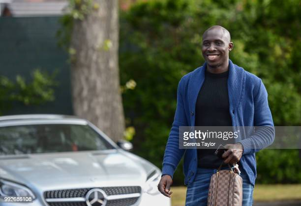 Mohamed Diame arrives back for the first team training session at The Newcastle United Training Centre on July 6 in Newcastle upon Tyne England