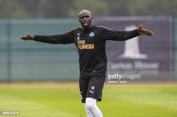 Mohamed Diame celebrates to the camera during the Newcastle United Training session at Carton House on July 15 in Kildare Ireland