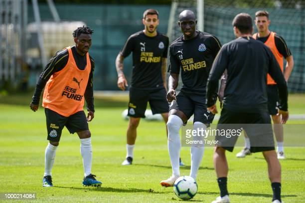 Mohamed Diame controls the ball during the Newcastle United Training session at Carton House on July 16 in Kildare Ireland
