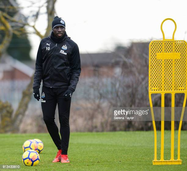 Mohamed Diame controls the ball during the Newcastle United Training session at the Newcastle United Training Centre on February 2 in Newcastle upon...