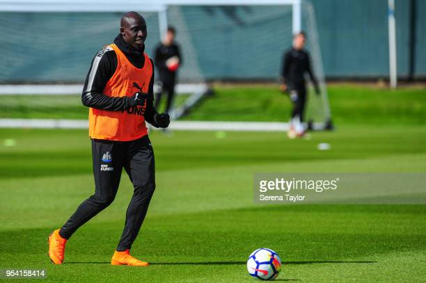 Mohamed Diame controls the ball during the Newcastle United Training Session at the Newcastle United Training Centre on May 3 in Newcastle upon Tyne...