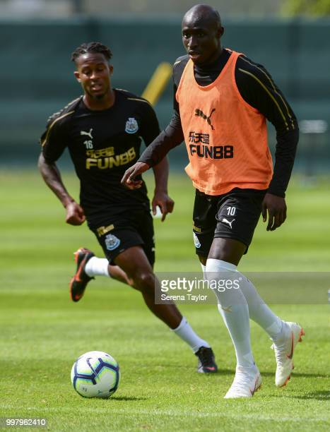 Mohamed Diame controls the ball during the Newcastle United Training session at Carton House on July 13 in Kildare Ireland