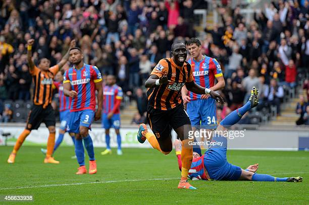 Mohamed Diame of Hull City celebrates after scoring the opening goal during the Barclays Premier League match between Hull City and Crystal Palace at...