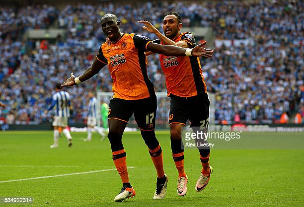 Mohamed Diame of Hull City celebrates scoring his team's first goal with his team mate Ahmed Elmohamady during Sky Bet Championship Play Off Final...