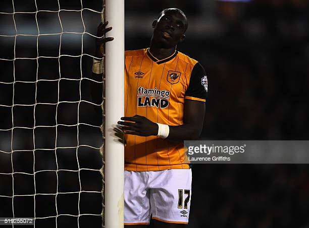 Mohamed Diame of Hull City shows his frustrations after a missed chance during the Sky Bet Championship match between Derby County and Hull City on...
