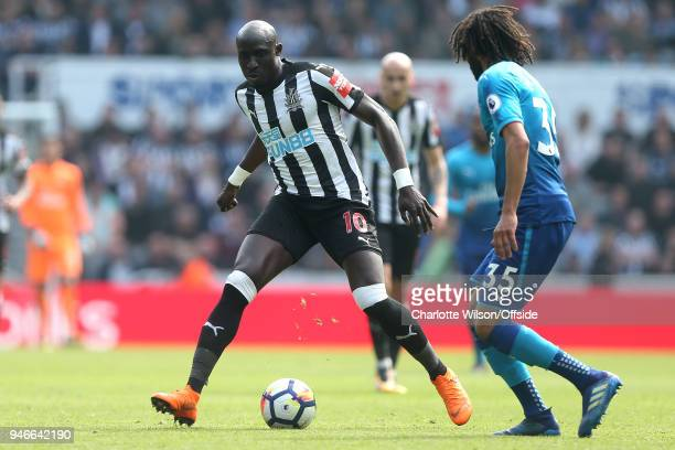 Mohamed Diame of Newcastle during the Premier League match between Newcastle United and Arsenal at St James Park on April 15 2018 in Newcastle upon...