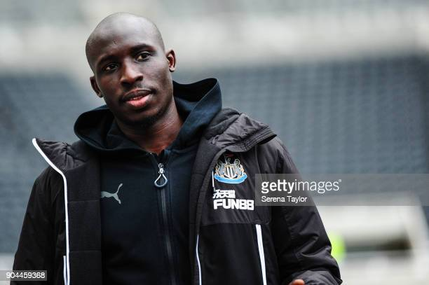 Mohamed Diame of Newcastle United arrives for the Premier League match between Newcastle United and Swansea City at StJames' Park on January 13 in...