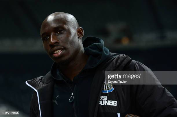 Mohamed Diame of Newcastle United arrives prior to kick off of The Premier League match between Newcastle United and Burnley at StJames' Park on...