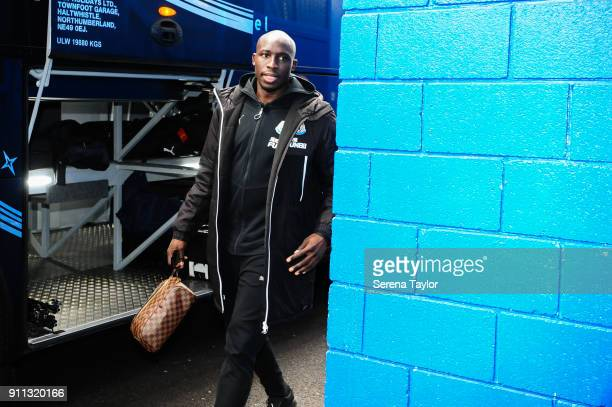 Mohamed Diame of Newcastle United arrives prior to The FA Cup fourth round match between Chelsea and Newcastle United at Stamford Bridge on January...
