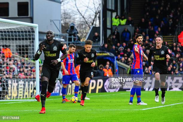 Mohamed Diame of Newcastle United celebrates after he scores the opening goal during the Premier League match between Crystal Palace and Newcastle...
