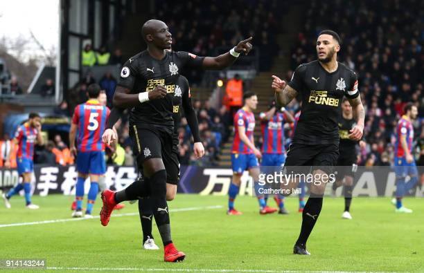 Mohamed Diame of Newcastle United celebrates after scoring his sides first goal during the Premier League match between Crystal Palace and Newcastle...