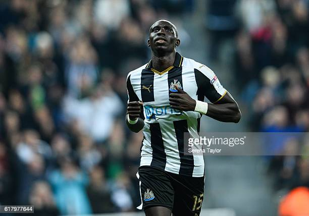 Mohamed Diame of Newcastle United celebrates after scoring Newcastle's second goal during the EFL Cup Fourth Round Match between Newcastle United and...