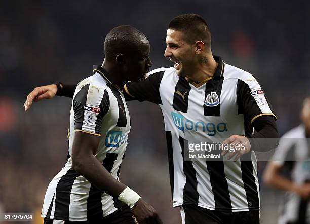 Mohamed Diame of Newcastle United celebrates scoring his sides second goal with Aleksandar Mitrovic of Newcastle United during the EFL Cup fourth...