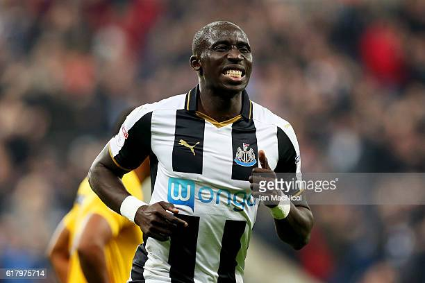 Mohamed Diame of Newcastle United celebrates scoring his sides second goal during the EFL Cup fourth round match between Newcastle United and Preston...