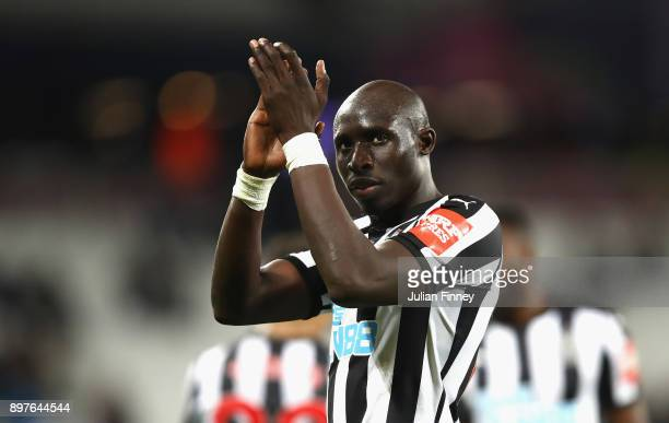 Mohamed Diame of Newcastle United celebrates victory during the Premier League match between West Ham United and Newcastle United at London Stadium...