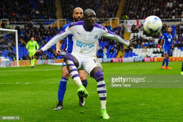 Mohamed Diame of Newcastle United controls the ball during the Sky Bet Championship match between Birmingham City and Newcastle United at St Andrews...