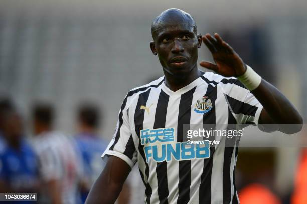 Mohamed Diame of Newcastle United during the Premier League Match between Newcastle United and Leicester City at StJames' Park on September 29 in...