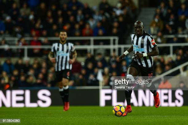 Mohamed Diame of Newcastle United in action during The Premier League match between Newcastle United and Burnley at StJames' Park on January 31 in...