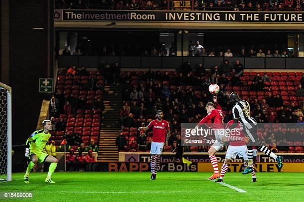 Mohamed Diame of Newcastle United jumps in the air to head the ball towards the goal during the Sky Bet Championship Match between Barnsley and...