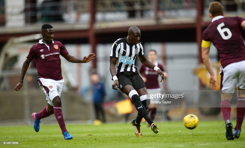 Mohamed Diame of Newcastle United (10) passes the ball during the Pre-Season Friendly between Heart of Midlothian and Newcastle United at the Tynecastle Stadium on July 14, 2017, in Edinburgh, Scotland.